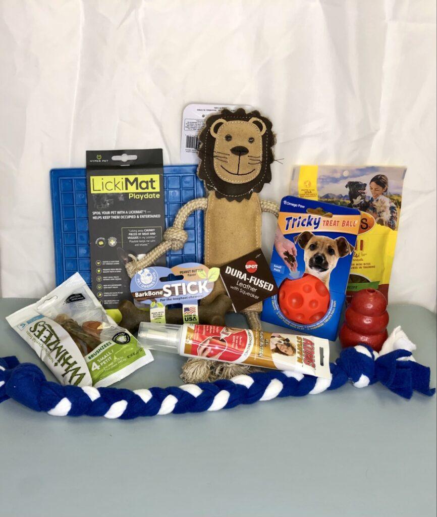Puppy Kit $50 +tax: LickiMat, Omega Treat Ball, Bark Stick, Leather Toy, Puppy Tug, Treats, Kong Peanut Butter, Whimzee's Dental Treats, Kong