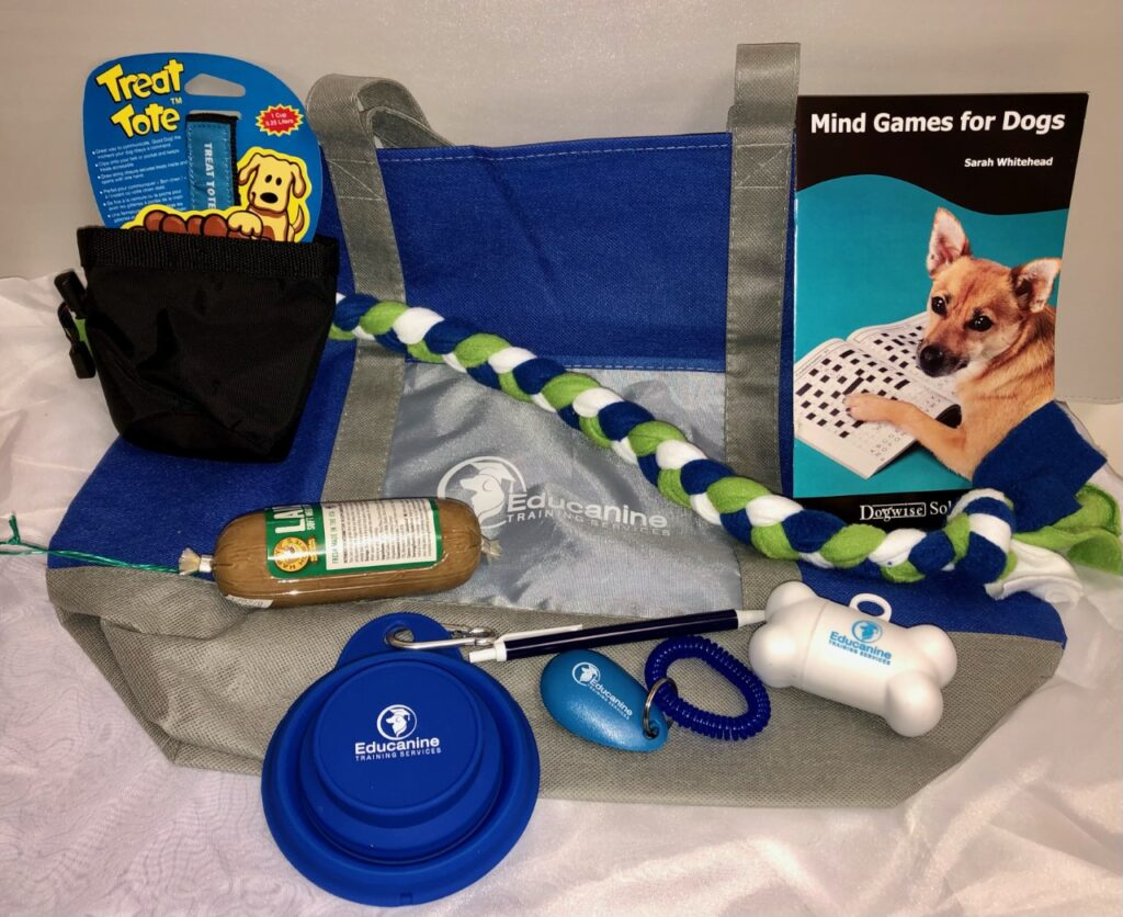 Deluxe Training Kit $35 +tax: Treats, Pouch, Clicker, Tote Bag, Tug Toy, Bag Holder, Collapsible Water Dish, Mind Games for Dogs Booklet